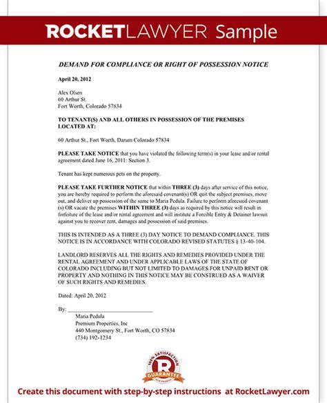 Demand Letter Colorado Colorado Eviction Notice Form Colorado Eviction Notice Sle