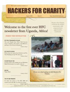 charity newsletter hackers for charity newsletter 1 august 2009 hackers