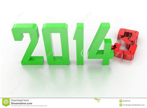 new year date changes 3d render of new year 2014 stock illustration