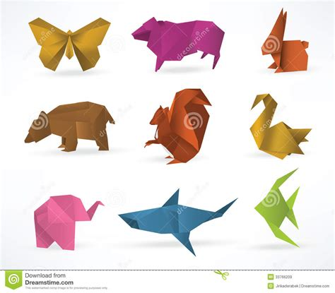 Origami Farm Animals - origami animals stock vector image of gradient