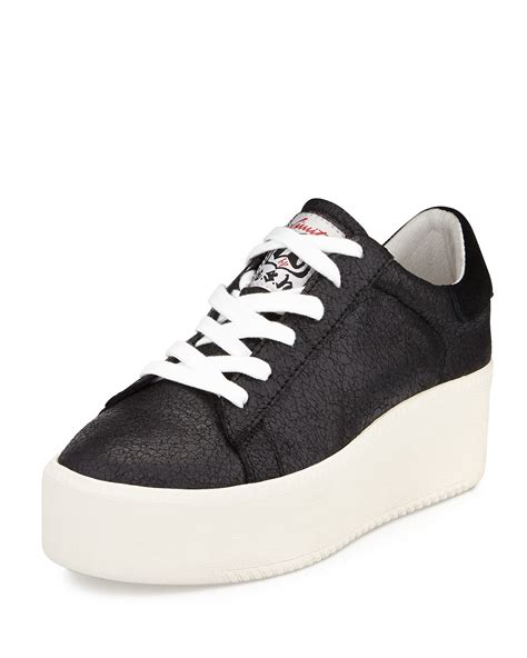 Platform Stitched Sneakers lyst ash cult crackled leather platform sneaker in black