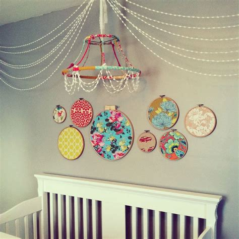 Fabric Chandelier Diy Diy Chandelier From L Shade Covered In Fabric Scraps With Pom Pom Garland And Hoops