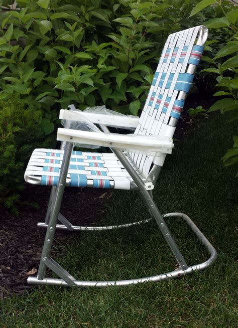 Webbed Lawn Chair by Vintage Aluminum Webbed Rocking Lawn Chairs Folding Patio