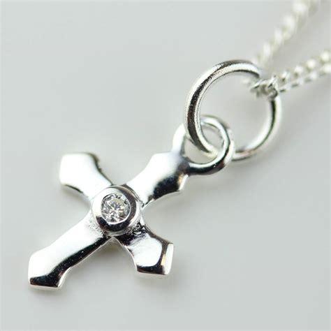 silver christening cross necklace by nest