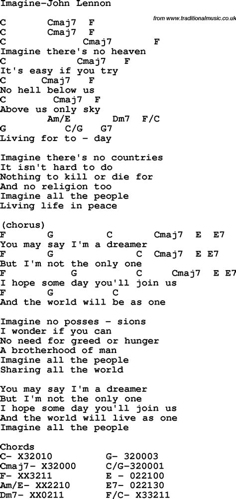 testo imagine protest song imagine lennon lyrics and chords quot