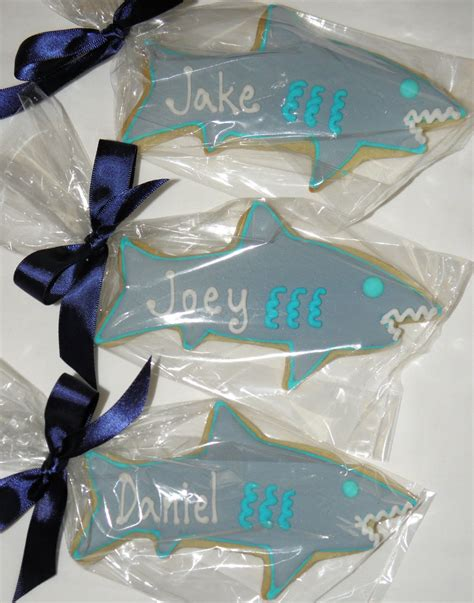 baby shark cookies cookie dreams cookie co personalized shark cookie favors