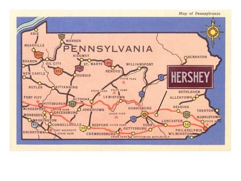 Hershey Pennsylvania Map by Map Of Pennsylvania With Hershey Art Print