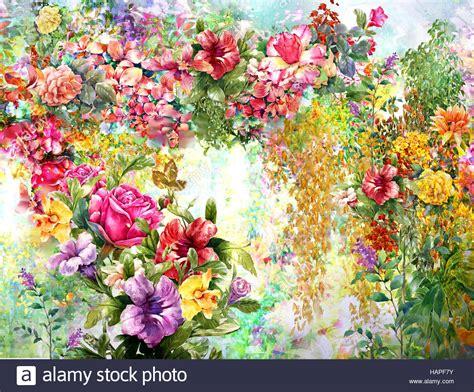 fiori astratti pittura ad acquerello molla di fiori