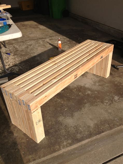 simple idea of long diy patio bench concept made of wooden