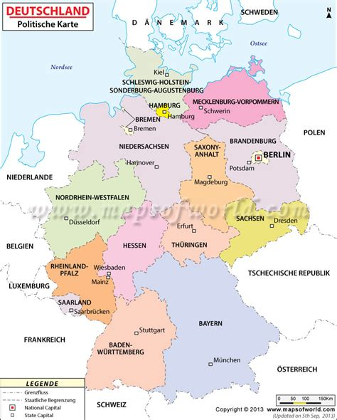 map of deutschland germany political map of germany in german language landkarte