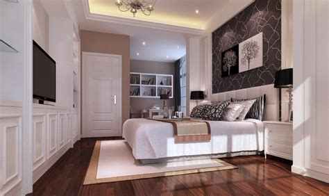 Bedroom White Walls Wood Floor Rendering