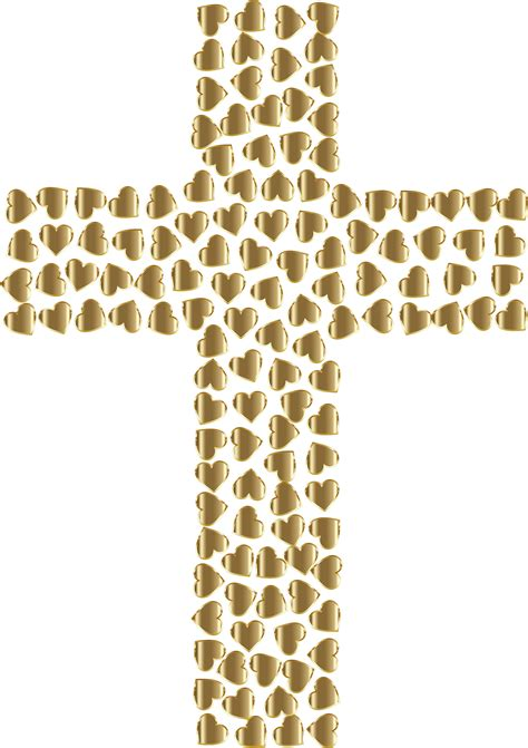 cross pattern png clipart golden hearts cross no background