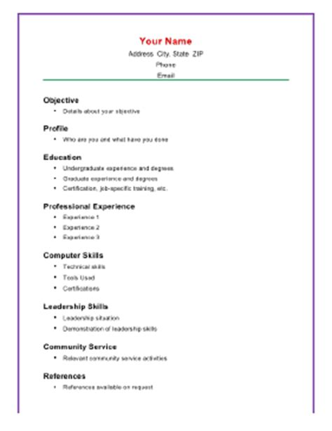 Resume Templates Computer Skills Basic Academic Resume A4 Template