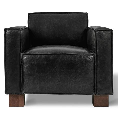 Gus Modern Cabot Saddle Black Leather Chair   Eurway