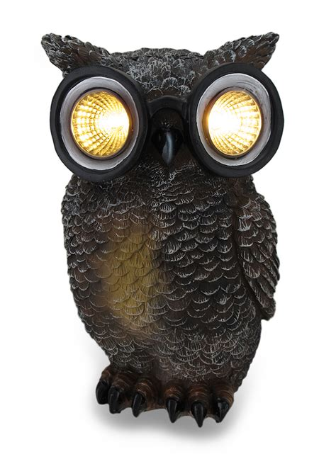 owl solar powered outdoor accent light ebay