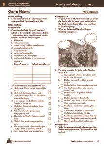 charles dickens biography video worksheet charles dickens activity worksheets chapters 1 12 7th