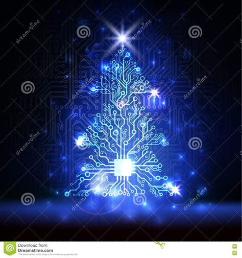 vector technology christmas tree stock vector