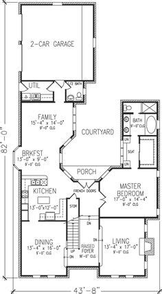 narrow lot house plans with courtyard house plans on pinterest home plans courtyards and house plans