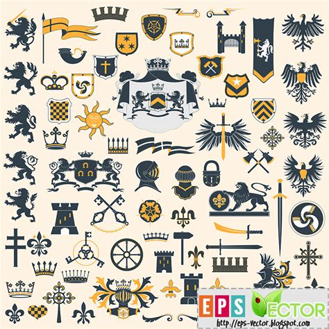 heraldic design elements vector vector collection of heraldry symbols eps vector blog
