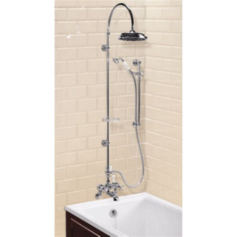bath tap with shower burlington wall mounted bath shower mixer with rigid riser curved arm 9 quot shower divertor