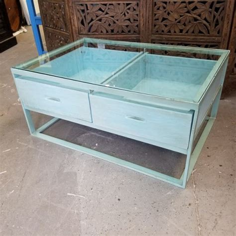 Glass Top Coffee Table With Drawers Nadeau Charlotte Glass Top Coffee Table With Drawers