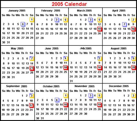 Calendar For 2005 Calender 2005