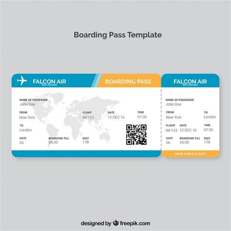 boarding pass template with map and color details vector