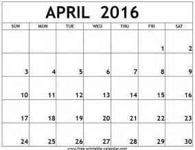 april calendar printable 2016 printable calendar templates