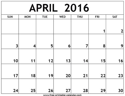 Blank Calendar Pages 2016 April Calendar Printable 2016 Printable Calendar Templates