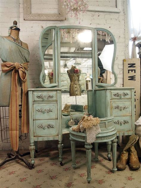 vintage painted cottage shabby aqua chic vanity van214 painted cottage furniture and this