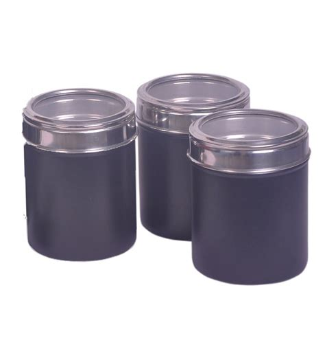 black kitchen canisters dynamic store kitchen storage canister set of three by