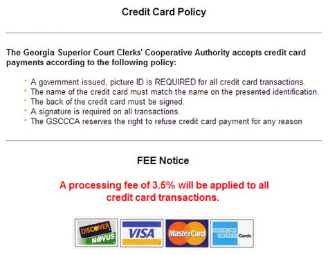 Sle Credit Card Processing Policy apostille documents general information