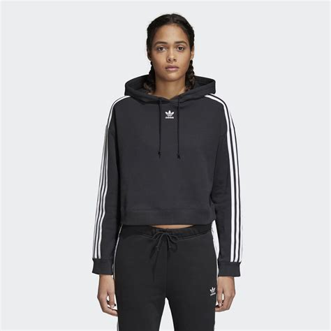 Smile Crop Hoodie Black adidas cropped hoodie black adidas us