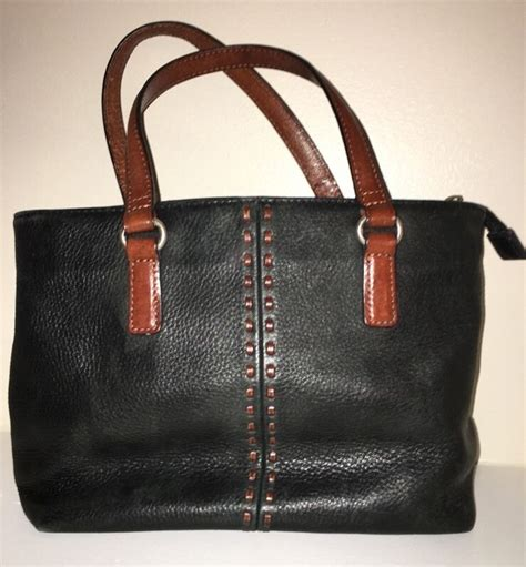 Fossil Black Brown Leather vintage fossil black brown leather handle bag purse ebay