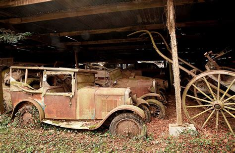 retro cer 60 vintage cars found in french farm garage after 50 years