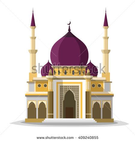 design masjid pdf muslim mosque isolated flat facade on stock vector