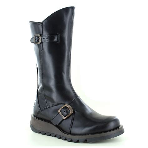womans wedge boots fly mes 2 womens leather mid calf wedge boots black