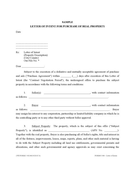 Letter Of Intent To Purchase A Home Letter Of Intent For Purchase Of Real Property Free