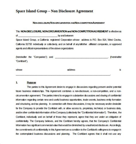 non compete non disclosure agreement template non compete agreement template 8 free word excel pdf