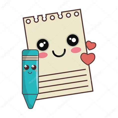 desenho kawaii o bloco de notas e a cor dos desenhos animados kawaii