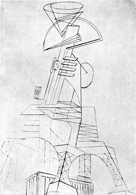Radio 4 Sketches by Naum Gabo Project For A Radio Station 1919 1920