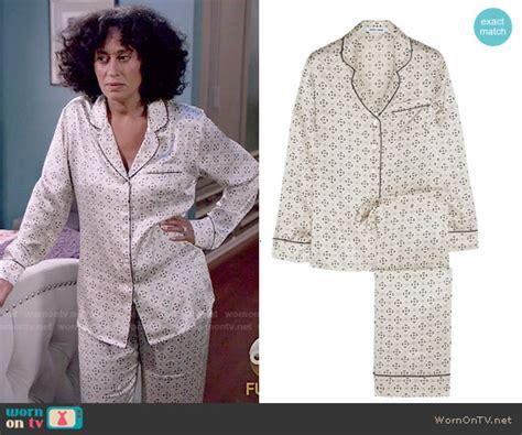 Alba Pajamas Blue wornontv rainbow s white printed pajamas on black ish