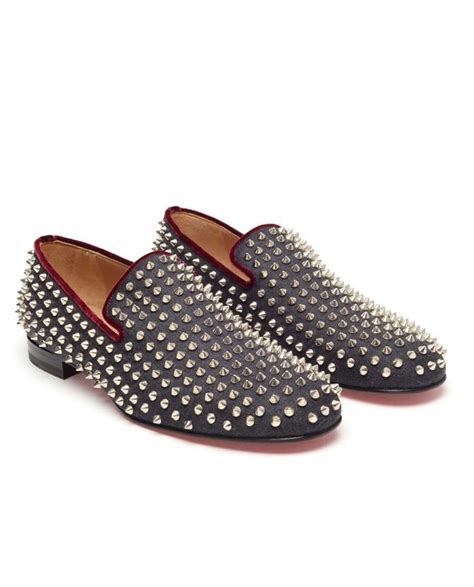spiked loafers for christian louboutin rollerboy spiked loafers in gray for