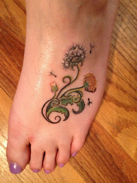dandelion foot tattoo designs dandelion on ankle