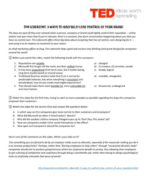 ted talk worksheet answers 39 free advertising and brands worksheets