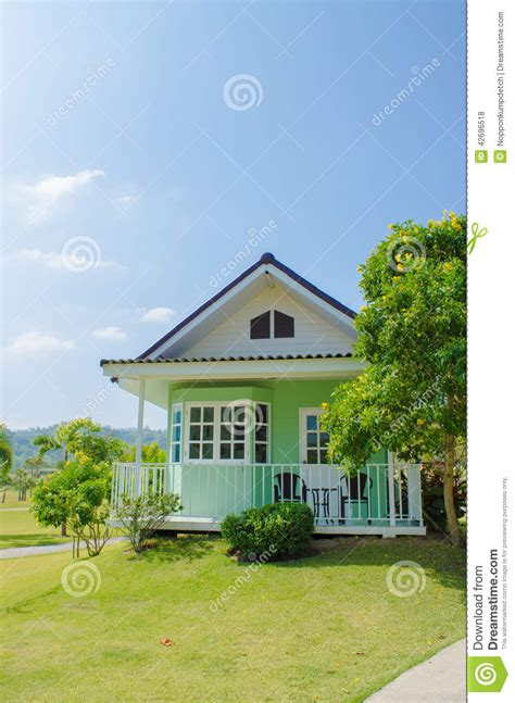 amerikanischer baustil green small house american style from backyard with green