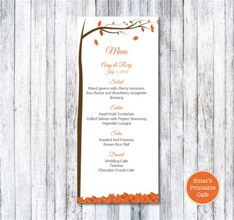 fall menu template autumn leaves wedding menu template diy printable fall