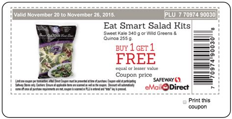 free printable grocery coupons safeway safeway canada printable coupons eat smart salad kits buy