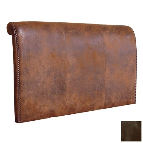 Brown Leather Headboard Shop Fireside Lodge Furniture Brown California King Leather Upholstered Headboard At