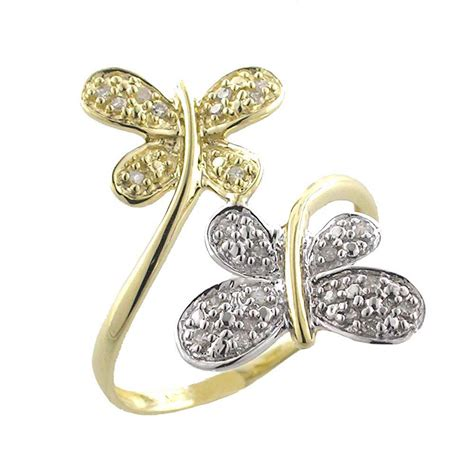 dragonfly ring 10k yellow and white gold